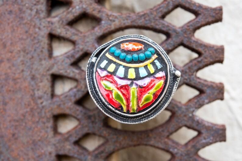Adjustable Ring Chunky Ring Colorful Jewelry READY to SHIP Flower Ring Statement Ring Bold Ring Global Folk Botanic Ceramic Ring