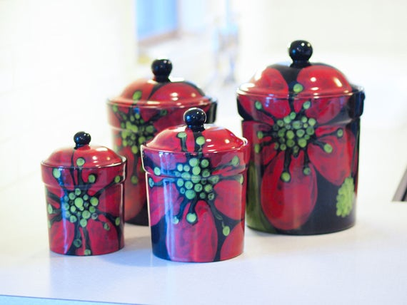 3 RED PICK UP TRUCK CANISTERS Country Christmas Tree Food Storage Sugar Flour