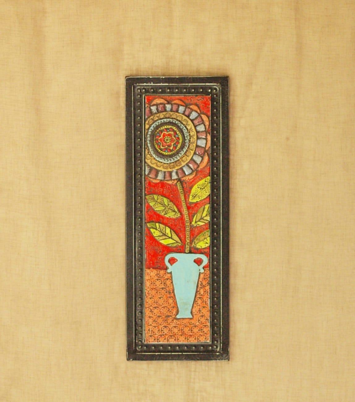 Wall Art Mosaic Wall Art Ceramic Tile Art Blossom in Blue Vase | Etsy