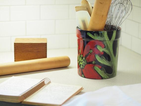 Utensil Canister, Utensil Crock, Kitchen Utensil Holder, Ceramic Utensil  Canister XL Utensil Holder Red Poppy Pottery Gift for Bride RP