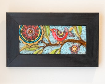 Tile Wall Art, Mosaic Art in Wood Frame - Bird on Branch - Colorful Flowers and Semiprecious Stones, Horizontal Art, MADE to ORDER