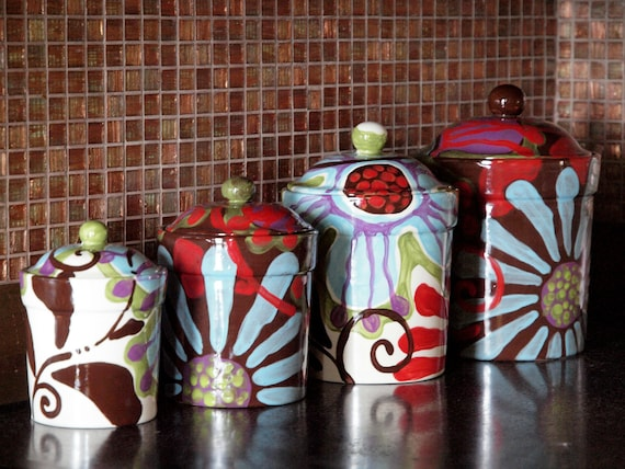Canister Set Kitchen Canisters Ceramic Canisters Pottery Canister Set  Colorful Canisters Urban Decor Boho Kitchen Decor Hippie Decor UF