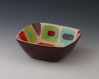 Midcentury Modern Bowl Small Serving Bowl Geometric Colorful Ceramic Bowl Retro Home Decor Small Square Bowl Mid Century Gift for Him GF