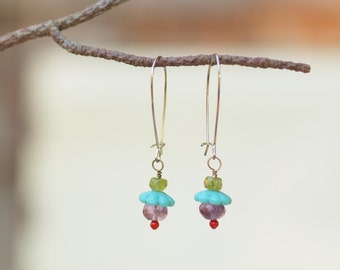 Earrings Boho Jewelry Colorful Earrings Dangle Earring Drop Earring Semiprecious Stones Best Friend Gift Mother's Day Gift Romy and Clare