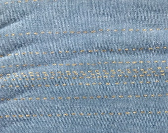 Sashiko Stitches Blue and Metallic Gold, Chambray Rules Cotton Fabric