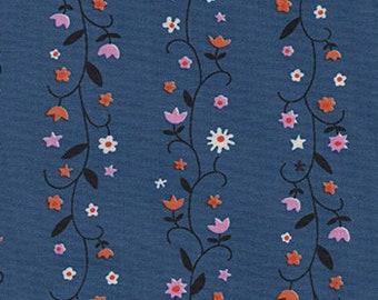 Cotton + Steel Daisy Vines Denim, Wellsummer Fabric