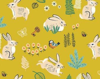 Hidden Garden Bunny Hop Marigold Organic Cotton Fabric, Yellow Rabbit Fabric