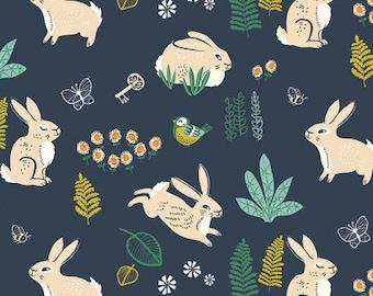 Hidden Garden Bunny Hop Dusk Organic Cotton Fabric, Navy Blue Rabbit Fabric