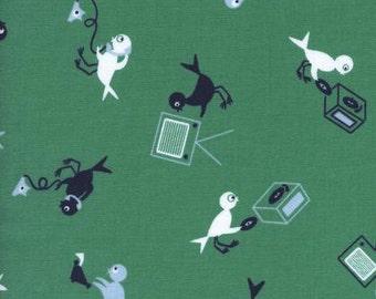 Cotton + Steel Rotary Club Hello Bird Green 100% Cotton Fabric
