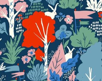 Wonderland Main Organic Cotton Fabric, Forest Fabric, White Rabbit