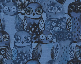 Eclipse,  Wise Owls Blue, 100% Cotton Fabric Cotton + Steel, Blue Owl Fabric