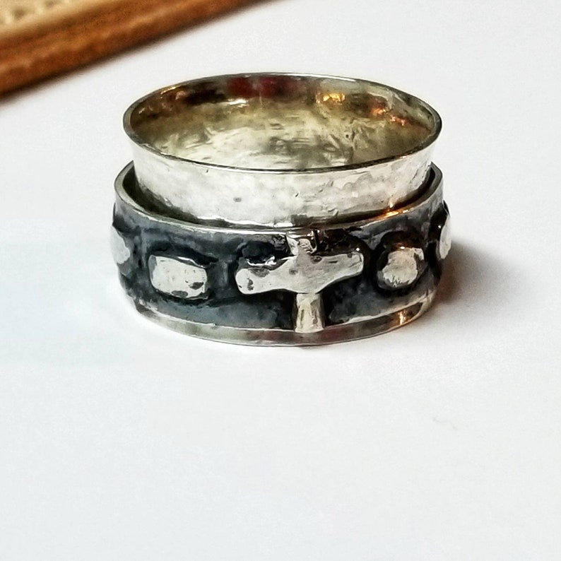 OXIDISED Finger Rosary Ring Decade Praying Beads Sliver Metal Open Crucifix