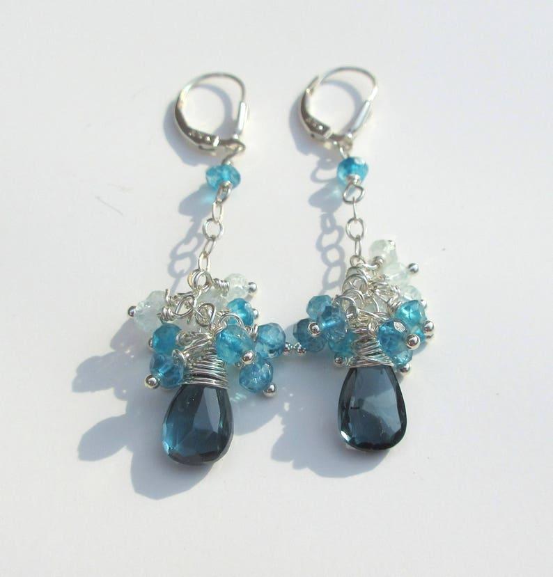 Aquamarine Cluster Earrings London Blue Topaz Earrings Long Dangle Earrings Silver, Mother/'s Day Gift For Her Birthstone Jewelry