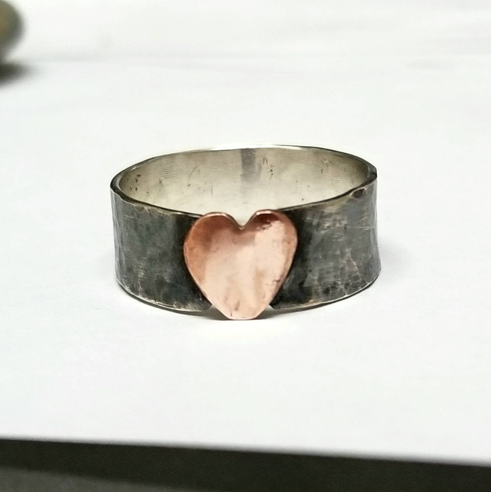 625fb82bdea8f Copper Heart Ring on Oxidized Silver Band, Rustic Jewelry, Gift For Her,  Unisex, Ready To Ship in Size 7, Mixed Metal, Maggie McMane Designs