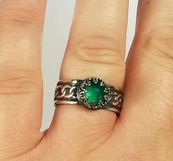 Green Onyx Gemstone Handmade 925 Sterling Silver Jewelry Ring Size 9.5 *Gemstone *Statement *Bridal *Wedding *Natural *Thin *Gift For Her