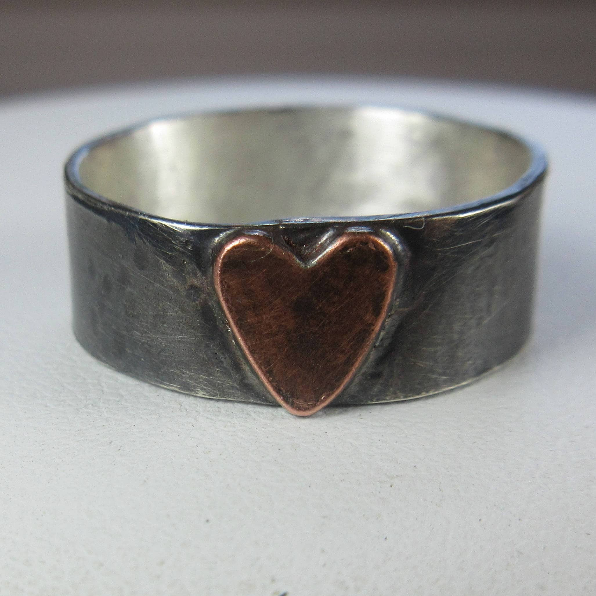 4ae68df15baec Heart Ring. Made To Order. Sterling Silver w Copper Heart. Wide Silver  Band. Oxidized/ Mixed Metal Rustic Heart. Gift For Her. Unisex