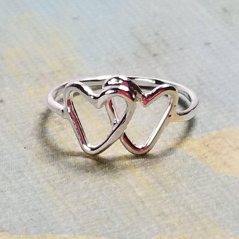 Hearts Ring Silver Open Hearts Ring 2 Linked Hearts Best friends Ring Double Hearts Mother/'s Day Gift Valentines Day Gift for Her