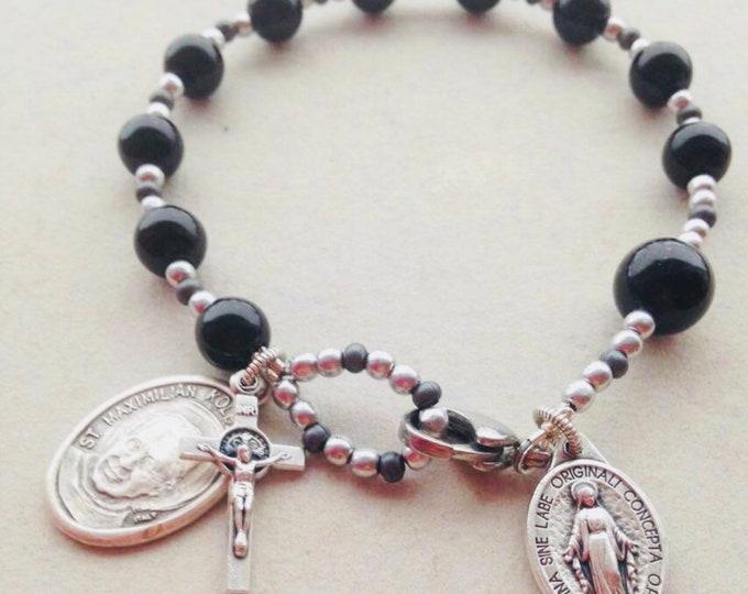 Men's Black Onyx Rosary Bracelet