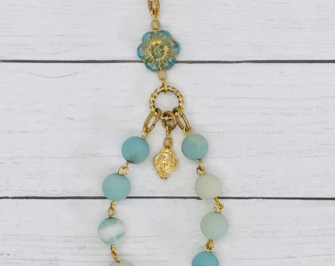 Linked Purse Rosary - Amazonite and Gold