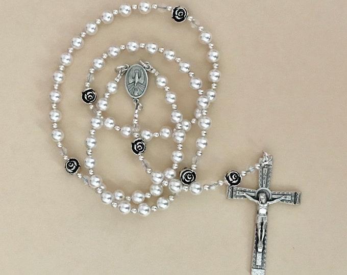 Classic White Swarovski Confirmation Keepsake Rosary