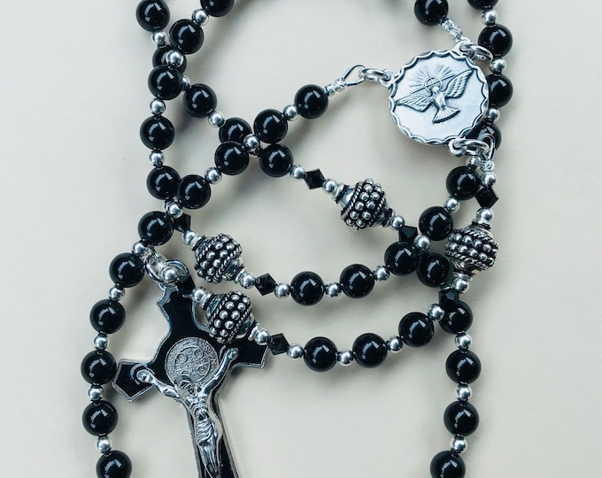 Classic Black Swarovski Confirmation Keepsake Rosary
