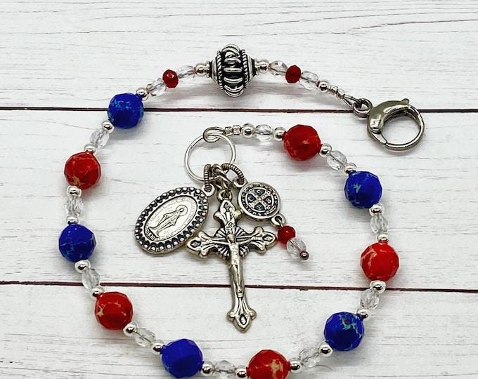 God Bless America Purse Rosary-Jasper