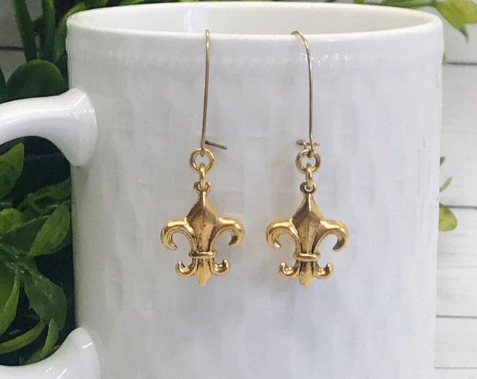 Joan of Arc Fleur de Lis Earrings ~ Gold or Silver