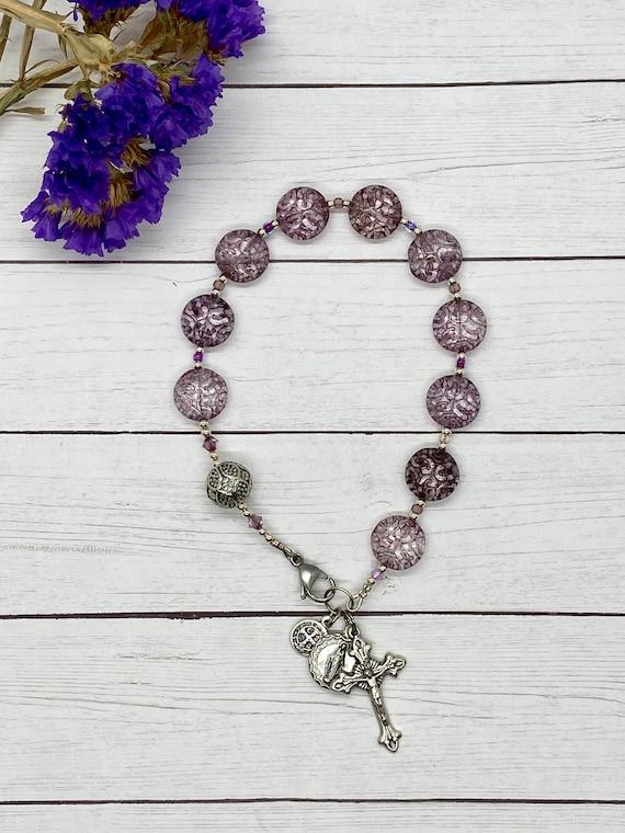 Amethyst Glass Purse Rosary