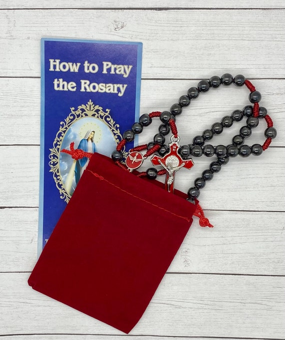 Come Holy Spirit Confirmation Rosary - Hematite and Red