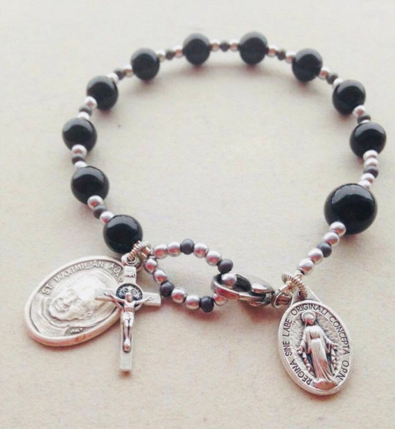 Men's Black Onyx Rosary Bracelet