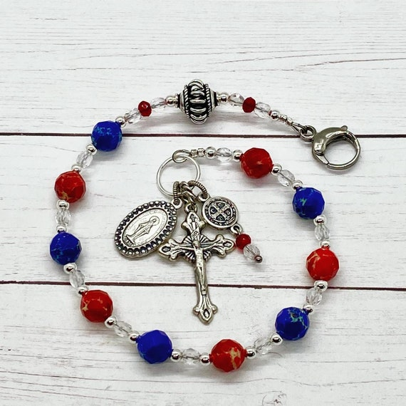 God Bless America Purse Rosary-Jasper