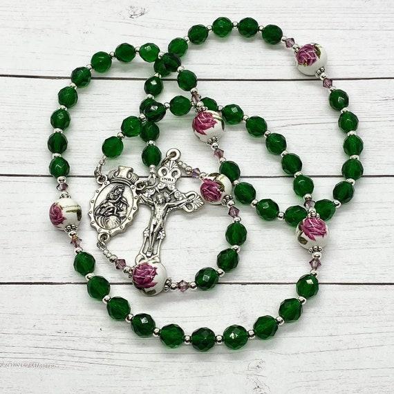 Emerald and Roses Keepsake Rosary
