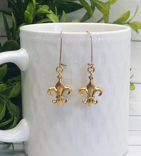 Joan of Arc Fleur de Lis Earrings ~ Gold or Silver