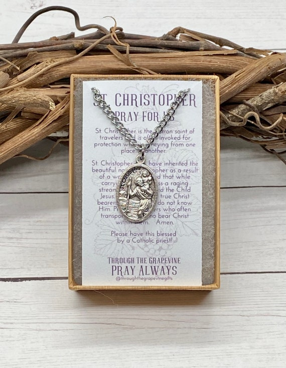 St. Christopher OR St. Michael Necklace 24in