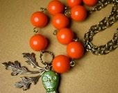 Pumpkins, Hoots, and Oaks Autumn Necklace (Vintage Lucite Beads)