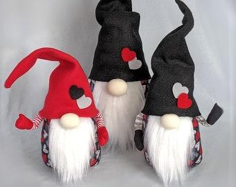 Valentine's Day Gnomes - Red, Grey, White Hearts