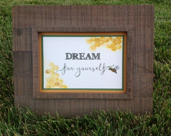 watercolor wall art, 5x7, OOAK, watercolor, quote, yellow, bee, green, dream, 5x7 wall art, inspirational, gift