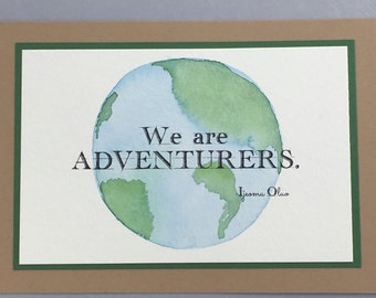 5x7 watercolor wall art, original, watercolor, quote, watercolor notecards, earth, blue, stationery, OOAK, gift