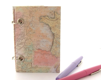 Small Refillable Notebook, Little Travel Journal, Blush Pink Notebook, Map Journal in Pink, Gift for Women, Graduation Gift, Small Notebook