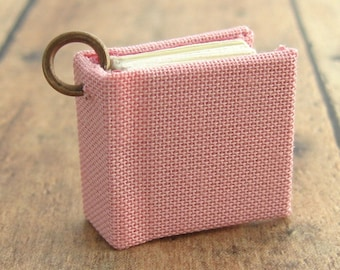 Handmade Linen Pendant, Miniature Journal Jewelry in Spring Blush