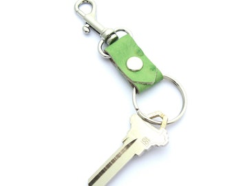 Green Ostrich Key Ring, Green Leather Key Fob, Clip On Keychain, Gifts Under 20, Leather Key Fob, Summer Key Ring, Gift for Her