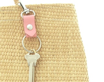 Pink Summer Keychain, Clip on Key Ring, Gift for Her, Gift for New Driver, Graduation Gift,  Pink Leather Key Fob, Ready to Ship Keychain