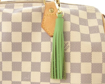 Brass Keychain, Leather Bag Charm, Leather Tassel Key Ring, Green Leather Tassel, Tassel Purse Charm, Handbag Charm, Green Leather Key Fob