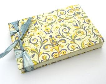 Summer Notebook, Small Handmade Wedding Guest Book, Gift for Her, Blue Flowered Journal, Gender Neutral Baby Shower Guest Book