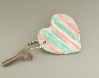 Heart Key Ring, Leather Key Fob, Gifts Under 20, Preppy Keychain, Rustic Heart, Gift for Women, Green and Pink Key Fob