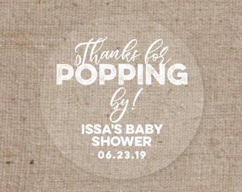 Clear Round Waterproof Popcorn Favor Labels - White on Clear Sticker - Baby Shower Favor Label - Champagne Bottle Bridal Shower  - Set of 30