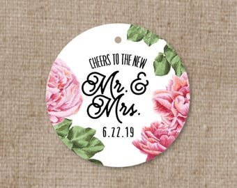 Simple Modern Floral Wedding Favor Tags - Thank you tags - Pink Peony Wedding Gift Tags - Bridal Shower Tags - Cheers to the new Mr & Mrs