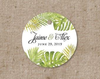 Simple Modern Botanical Wedding Favor Tags - Thank you tag - Rainforest Wedding Gift Tag - Bridal Shower Tag - Green Floral Leaf - Palm Tree