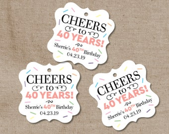 Cheers to 40 Years Wedding Tags - Birthday Stickers - Favor Tags - Favor Labels - 30 Years - 50 Years -Goody Bag Labels - Set of 30