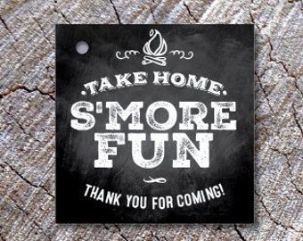 Chalkboard Style S'more Fun Favor Tags - Thank you tags - Take Home S'more Fun treat Tags - Thanks you Smore Labels - S'more Kit Tags